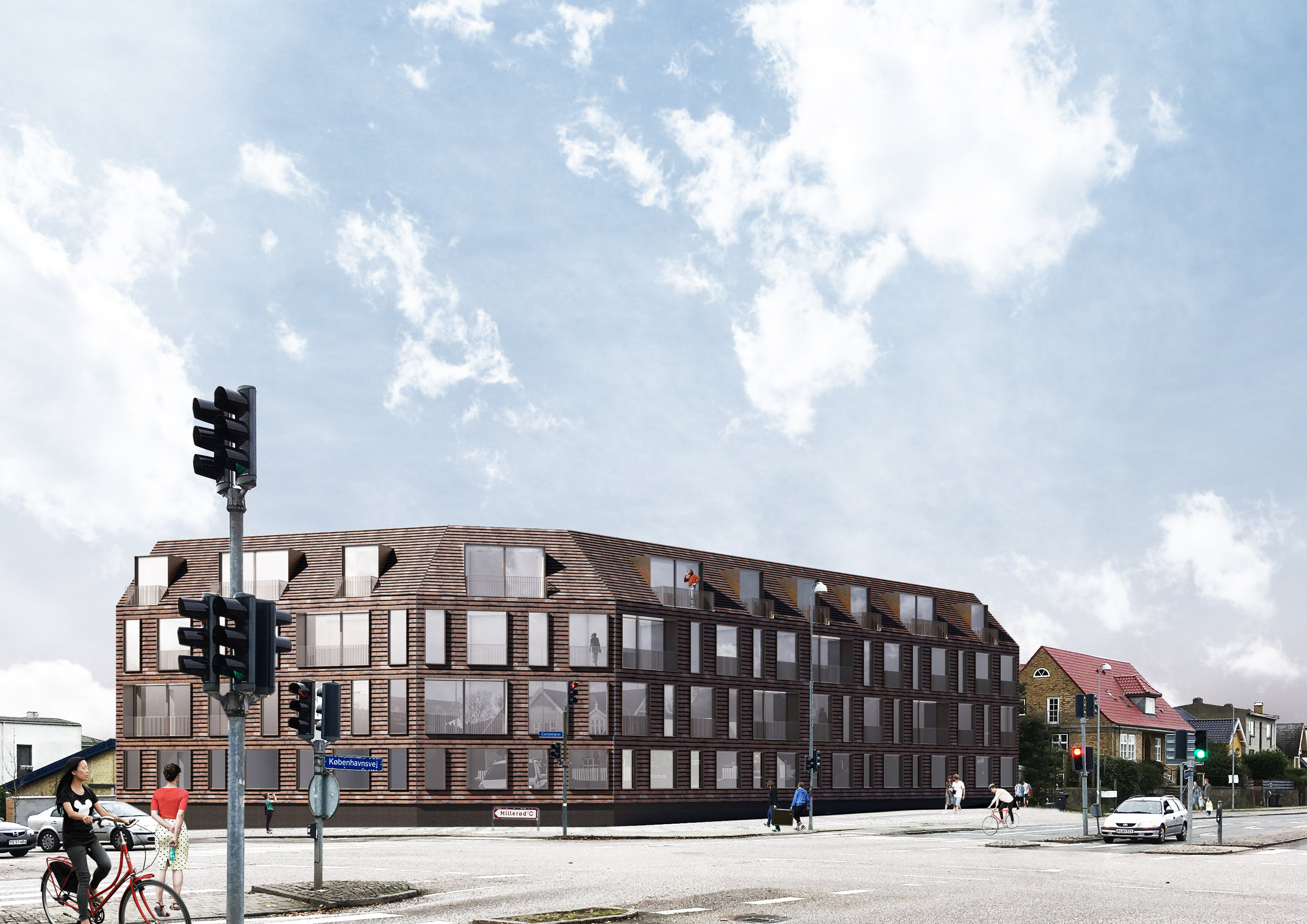 Visualisering set fra hjørnet Københavnsvej og Carlsbergvej