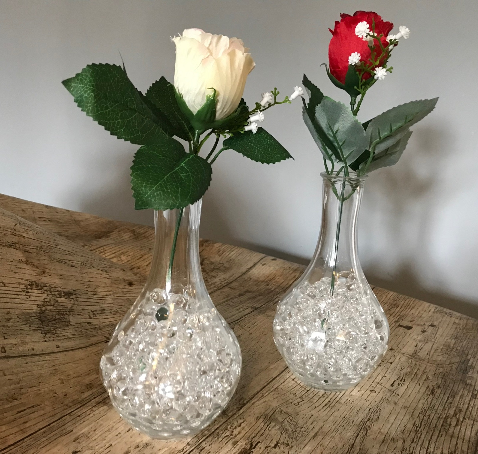 Bud Vases - Artificial Roses - Water Beads (CPLL11)
