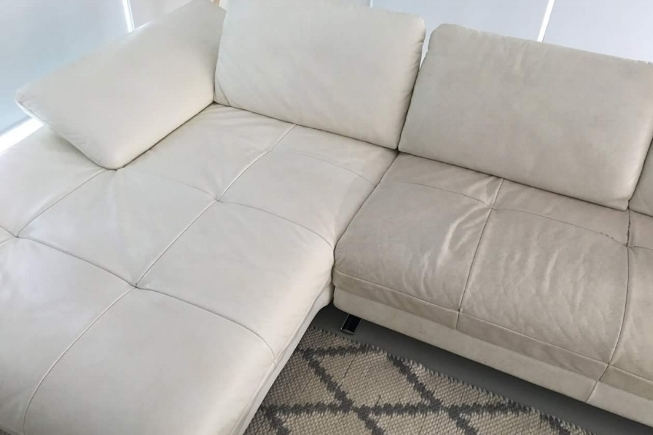 Clean leather sofa with stains removed