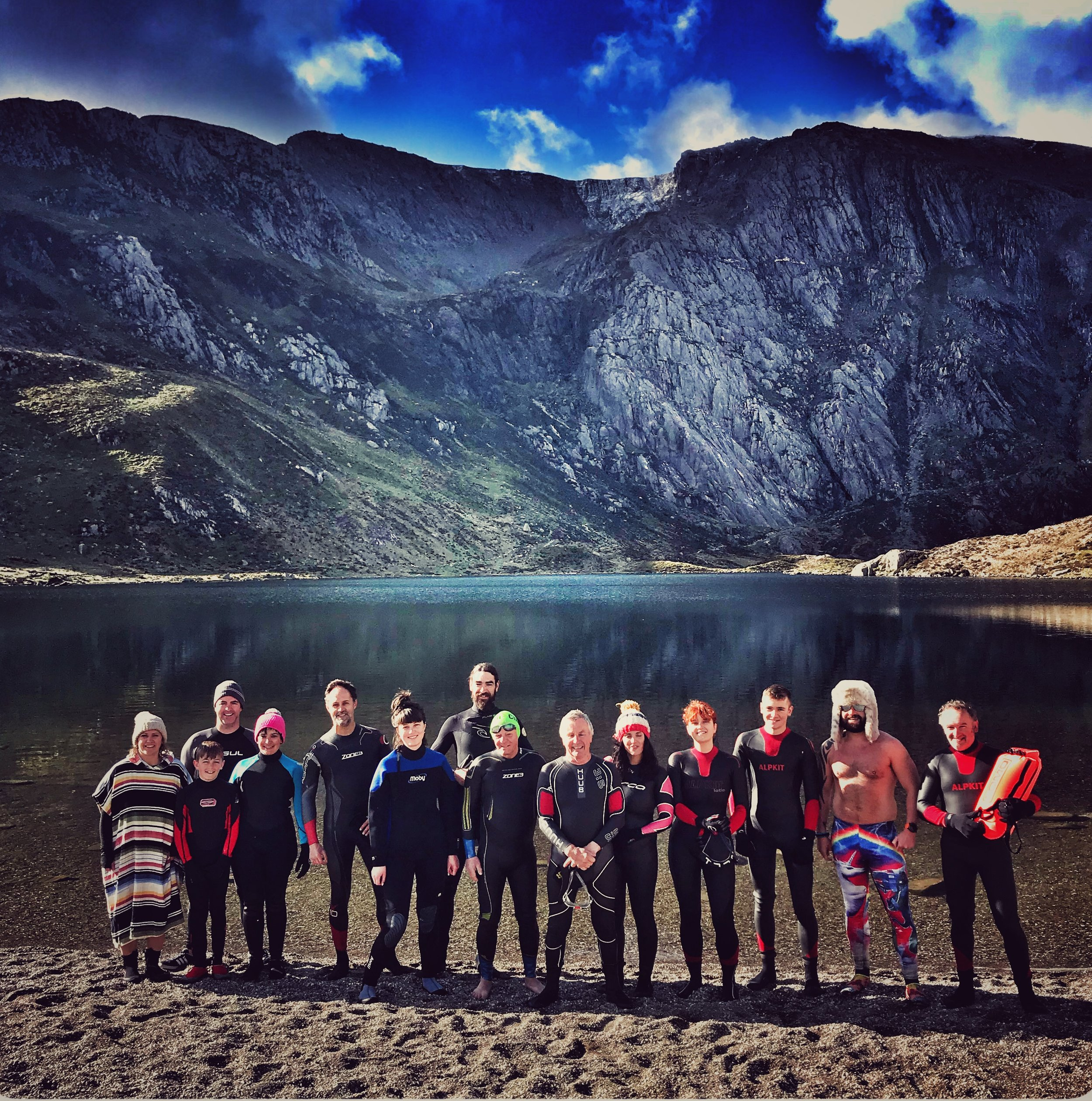 Swimmers at the edge of Llyn Idwal, Snowdonia