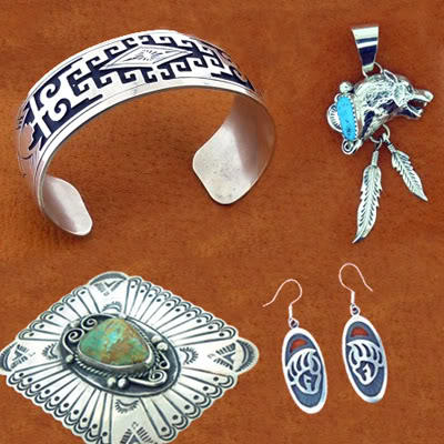 OVERLAY SILVER WORK - Native American Silversmiths use many different techniques to create their unique jewellery including methods such as Overlay, Mosaic & Channel Inlay, Petit Point & Cluster work designs.
