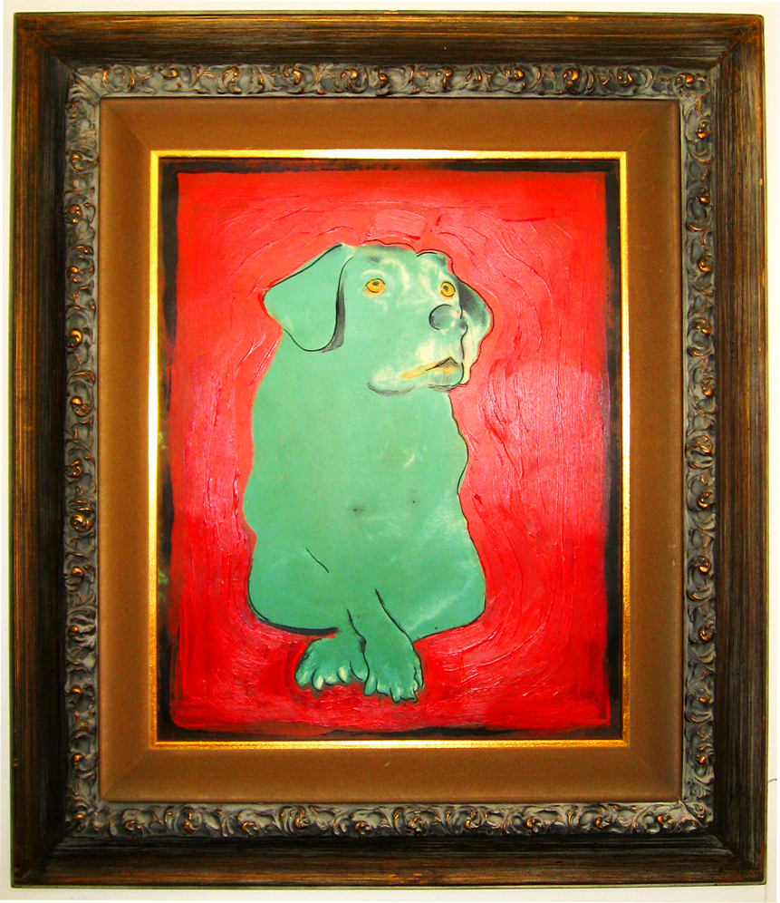 Green Dog - Impressionist style, oil on panel, vintage frame