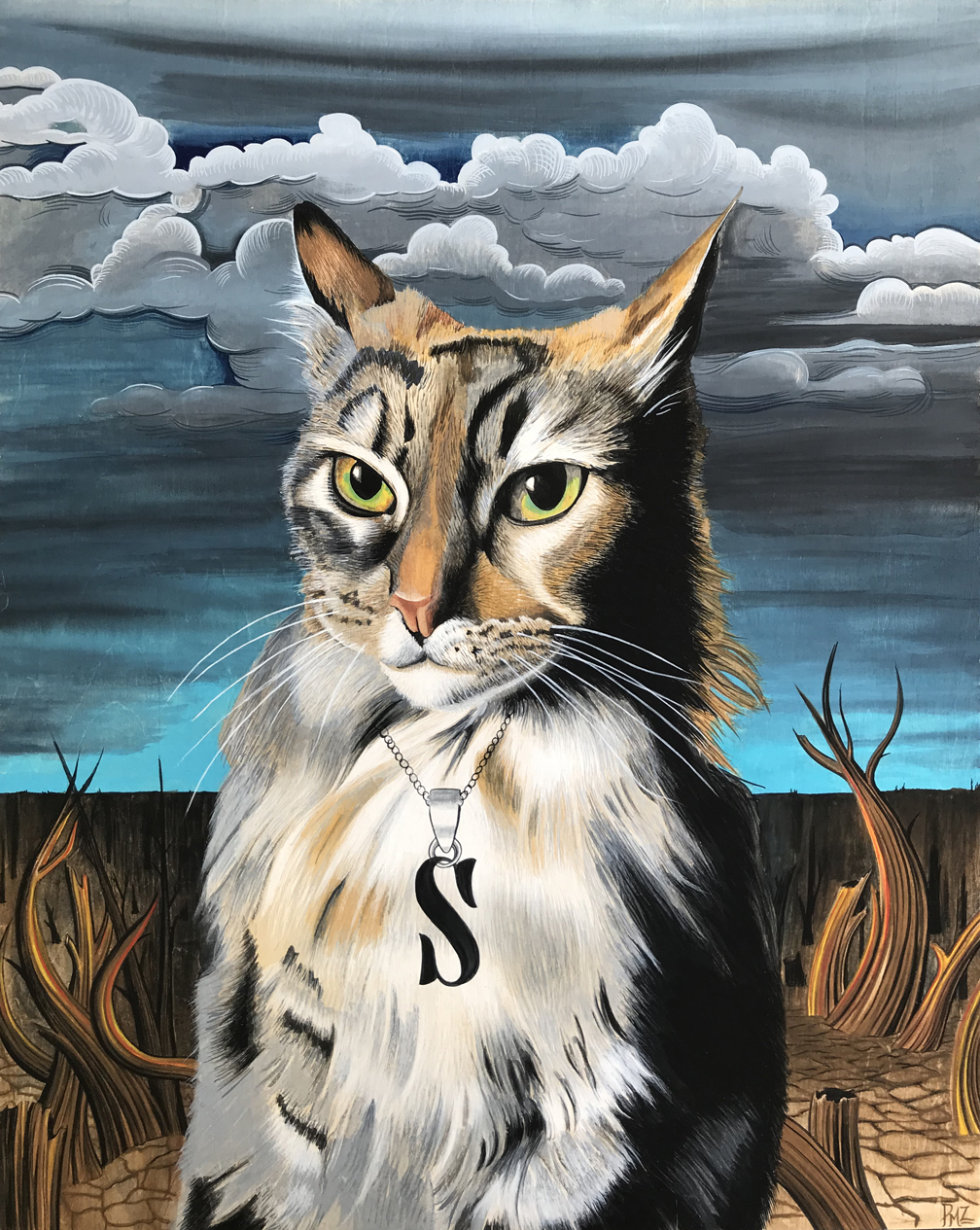Stormy - A realist/surreal portrait of a rescued cat from the Santa Rosa fires in California.Gouache on wood panel. @2019Patrushka