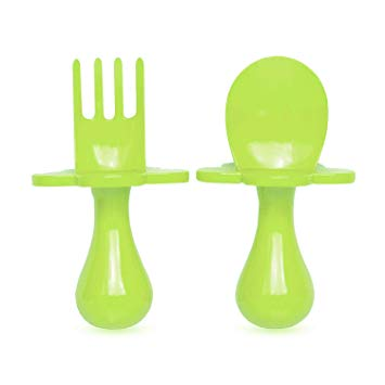 Grabease First self-feeding utensils: Green