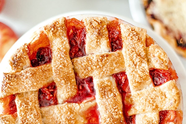 Strawberry Rhubarb Lattice Pie  -
