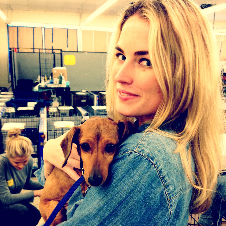 Amanda at puppy mill raid in North Carolina