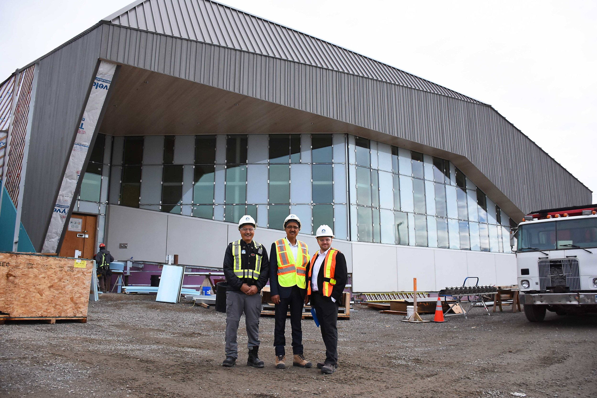 After the announcement, Premier Savikataaq,   Minister Sohi, and Vice-President of NAC, Karsten Henriksen, visited the new Nunatta Campus Building extension.