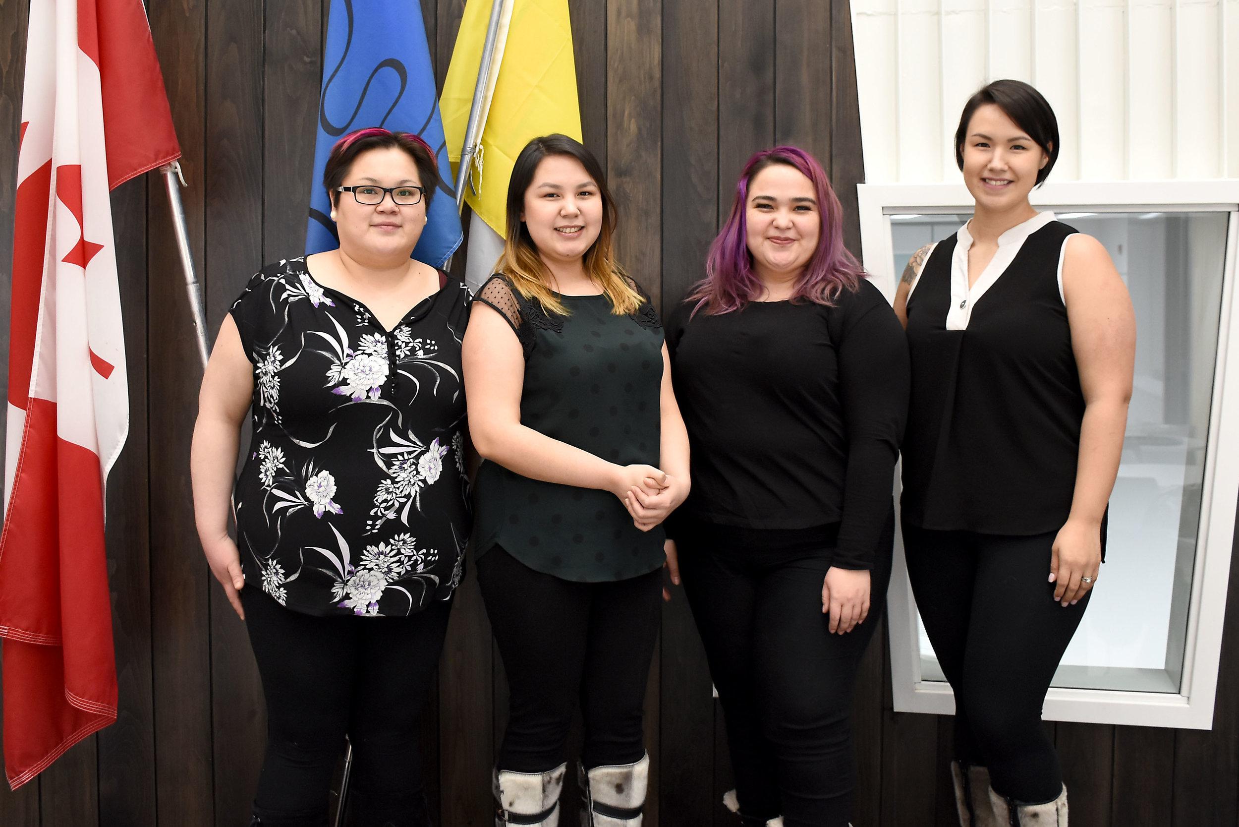 From left to right: Wendy Savikataaq, Jena Merkosak, Oopik Aglukark, Melynda Ehaloak