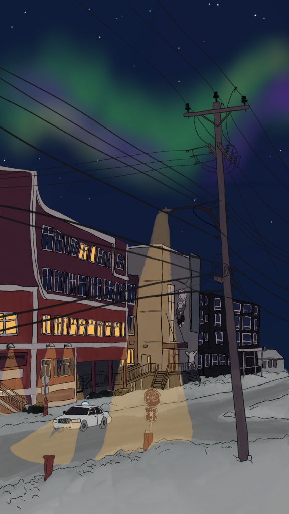 Dayle Kubluitok's digital artwork Four Corners, inspired by the intersection in downtown Iqaluit, is featured on the cover of Northwestel's new phone book for Nunavut.