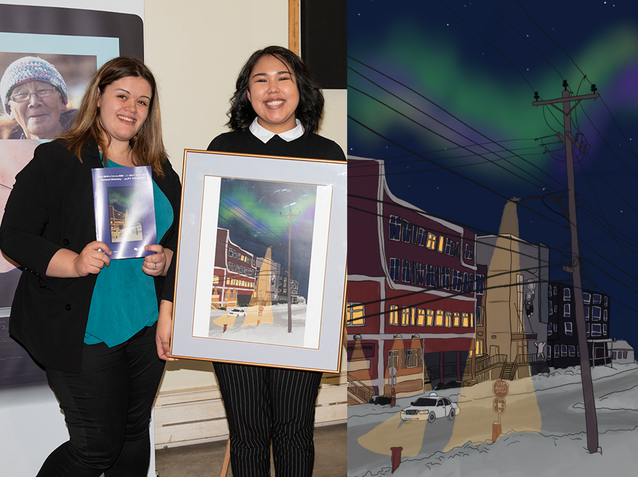 Dayle Kubluitok, second from left, holds Northwestel's 2019-20 Nunavut phone book, which features her winning artwork design. She's seen with Gabby Morrill from Northwestel.  (Photo courtesy of Northwestel)