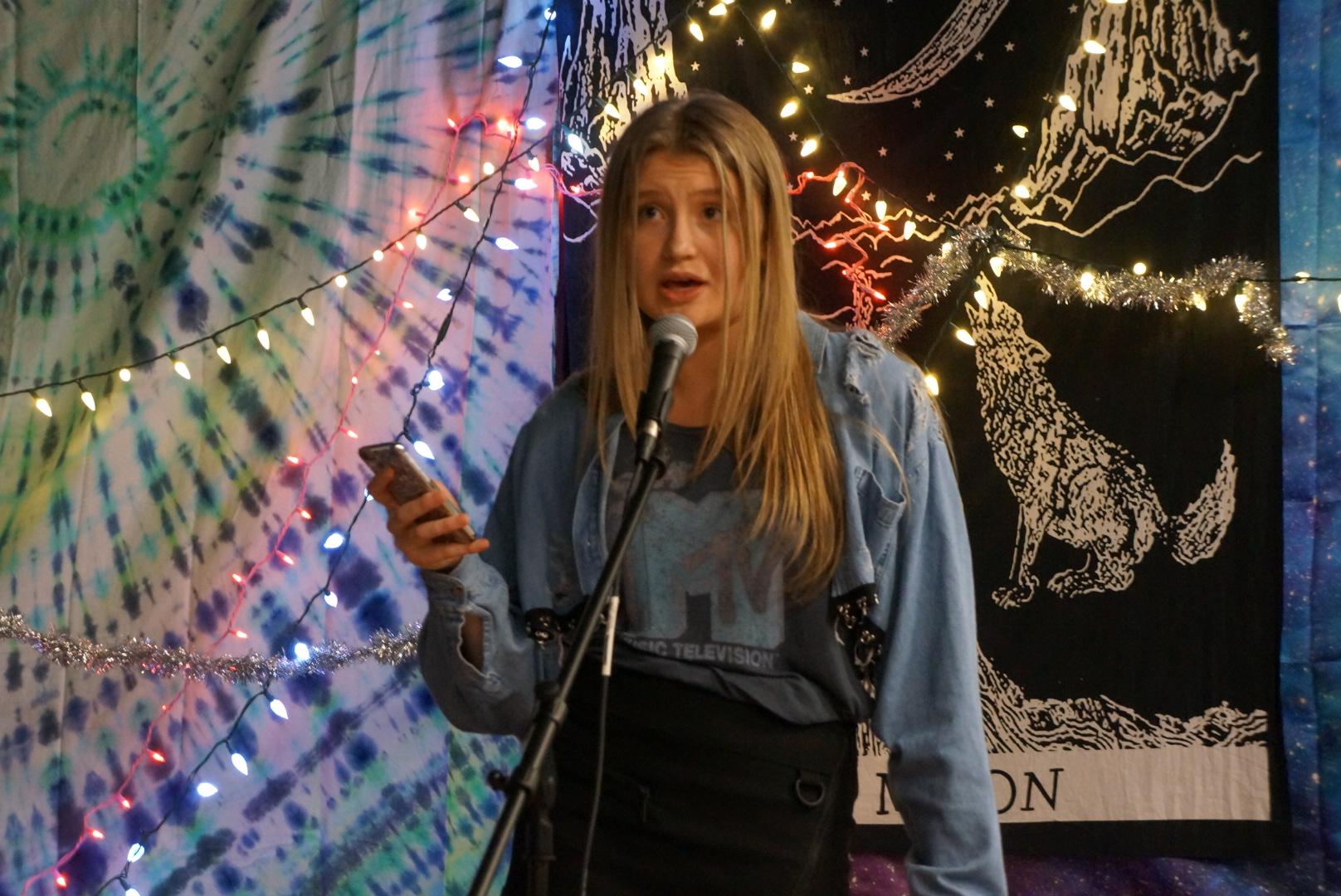 Devin Overend performed a spoken word poem at the event.
