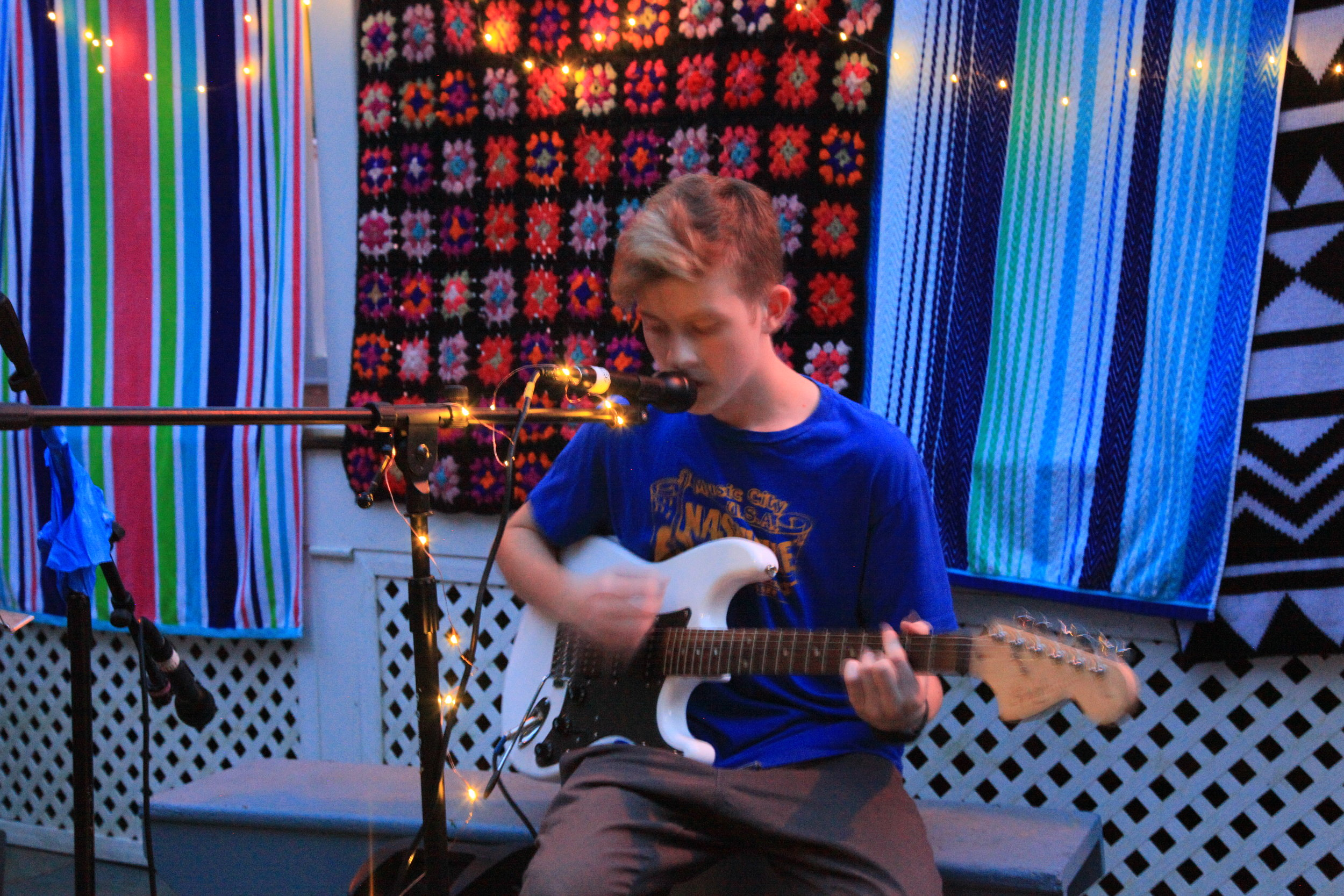 Ryan Boron on his guitar