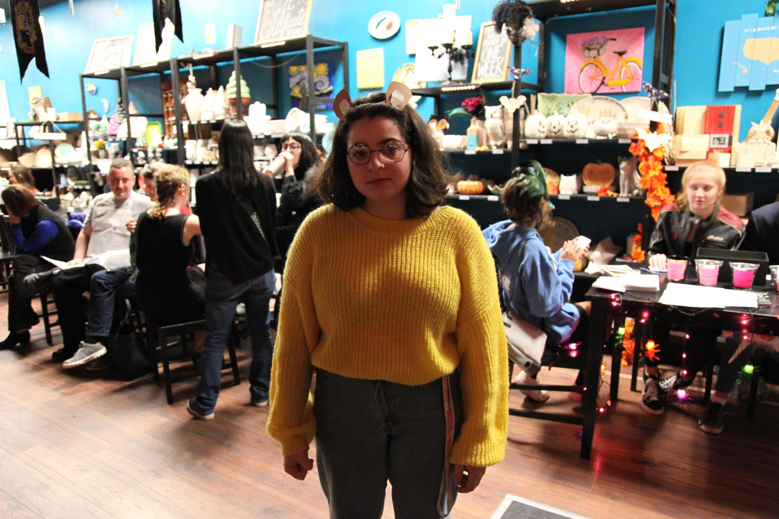 Olivia, our costume winner (dressed as Arthur)