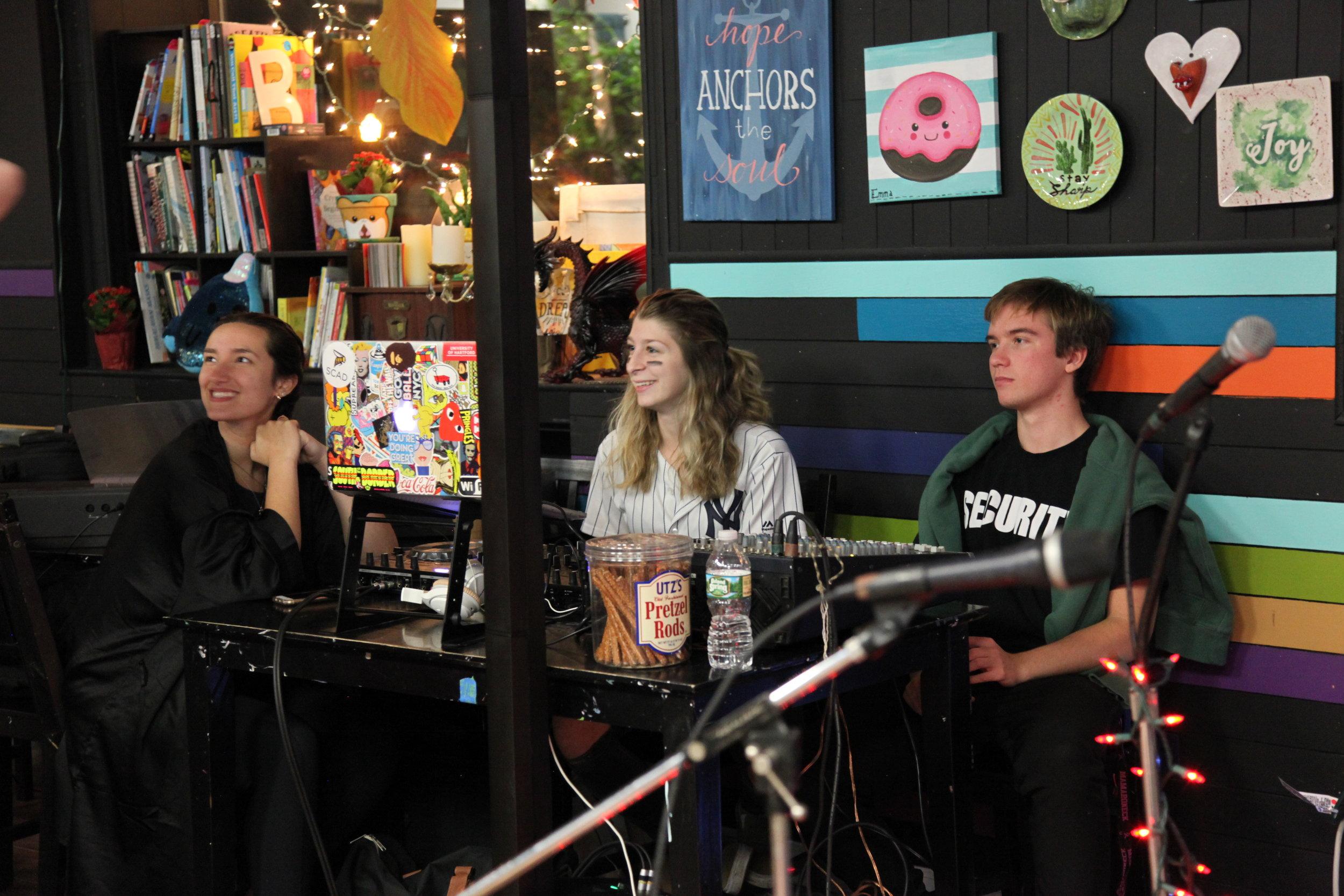 Elle Katsaros, our DJ (center) with Milo Haviland (right) and Madison Crane (left)