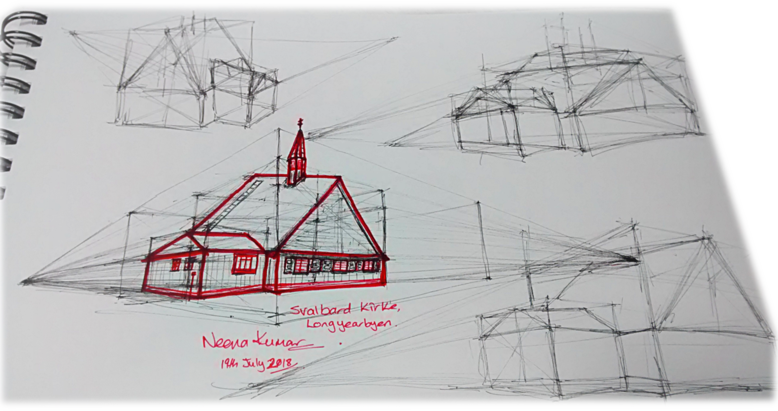 I was in the Arctic Longyearbyen, Svalbard and this is my take on Svalbard Kirke.  Ooops!