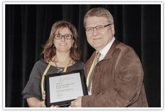 - Physician of the Year Award, 2017Dr. Peter Derkach2017 Physician of the Year Award being presented to Dr. Peter Derkach, Medical Director of Ukrainian Canadian Care Centre, Toronto, Ontario, by Dr. Julie Auger, Awards Chair 2017