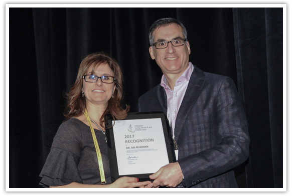 - Special Recognition Award 2017Dr. Sidney Feldman2017 Special Recognition Award being presented to Dr. Sydney Feldman, Baycrest Health Sciences, Toronto, Ontario, by Dr. Julie Auger, Awards Chair 2017
