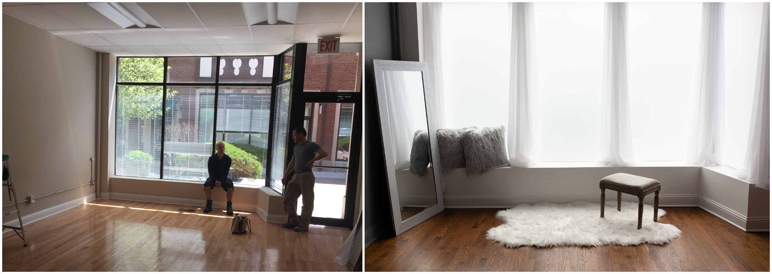 Before (left) and after renovation (right) - Chicago Boudoir Photography studio