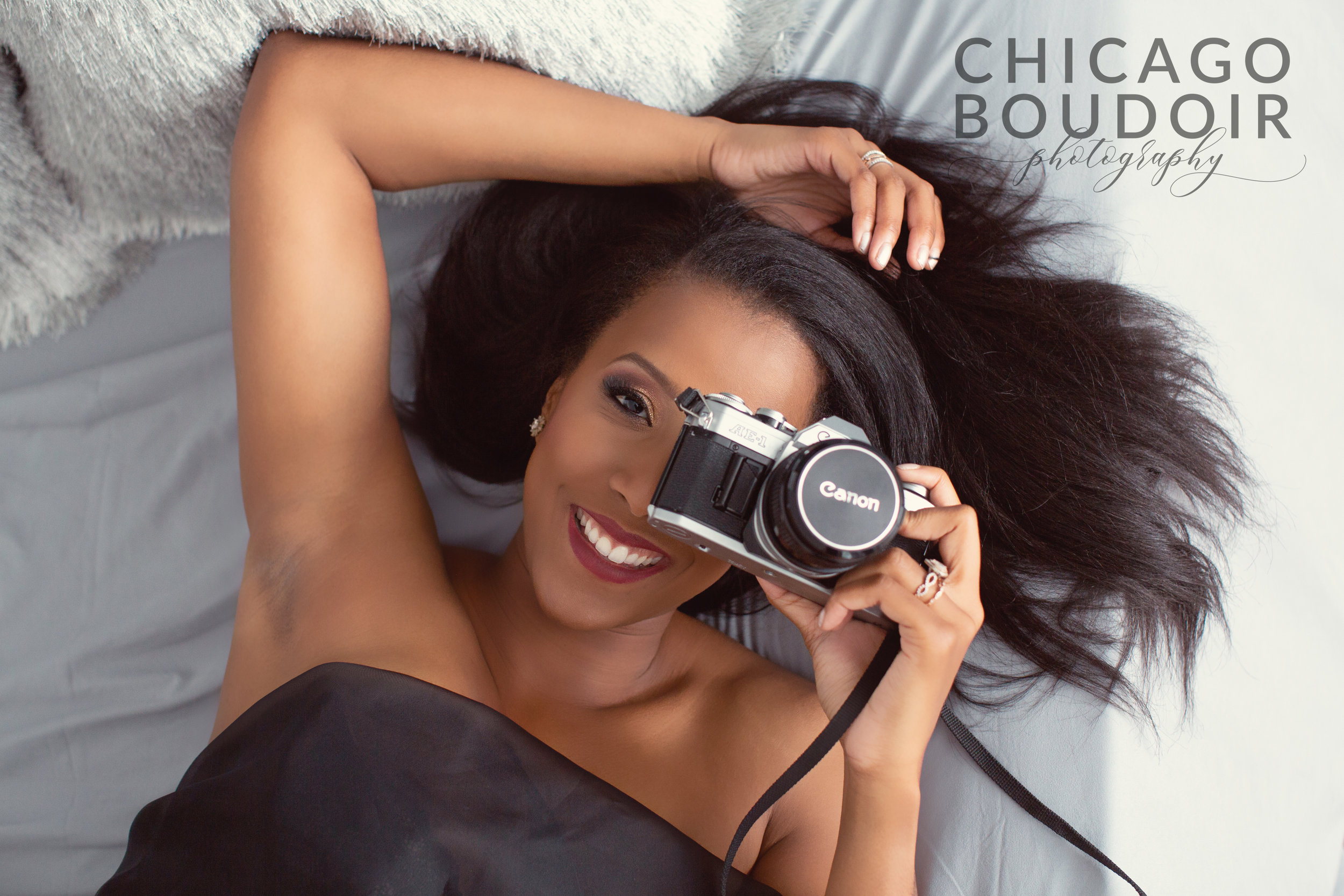 vintage camera chicago boudoir photography african american woman