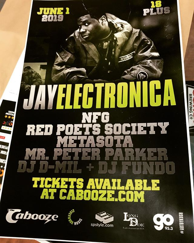 First round of #posters in for the @jayelectronica event at @thecabooze Saturday , June 1st. (18+) $25/$30  Tickets available at cabooze.com  Host: @mrpeterparker  House DJ: @djdmil  Live sets by: @metasota  @nofuxaroundgang  @redpoets  Art by @kushpicasso  #go953mn #goradio #longdoe #spstyle #artbykush #jayelectronica #minnesota #minneapolis #stpaul