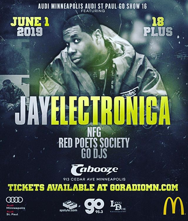 Saturday , June 1st at @thecabooze don't miss your chance to see @jayelectronica live in action in #minneapolis. tickets available at Cabooze.com