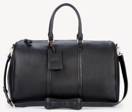 LEATHER DUFFLE - This bag is my absolute FAVORITE. It looks $$$$$ but it's literally less than $90. I've had it for over a year already and it still looks brand new (and that's that I've traveled 5+ times with it). It's sturdy, holds SO much crap in it, and has pockets on the inside! They also have it in five colors - YAS.