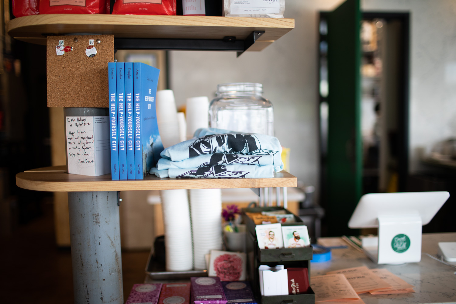 Some merchandise for sale at Spiller Park Coffee in Toco Hills.