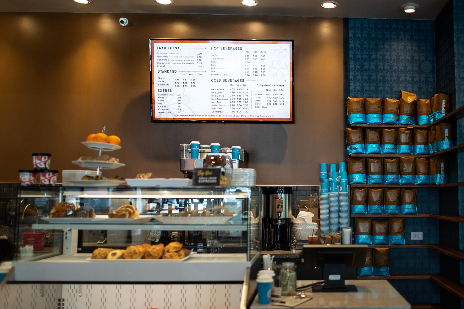 The menu offers traditional coffee options as well as teas.