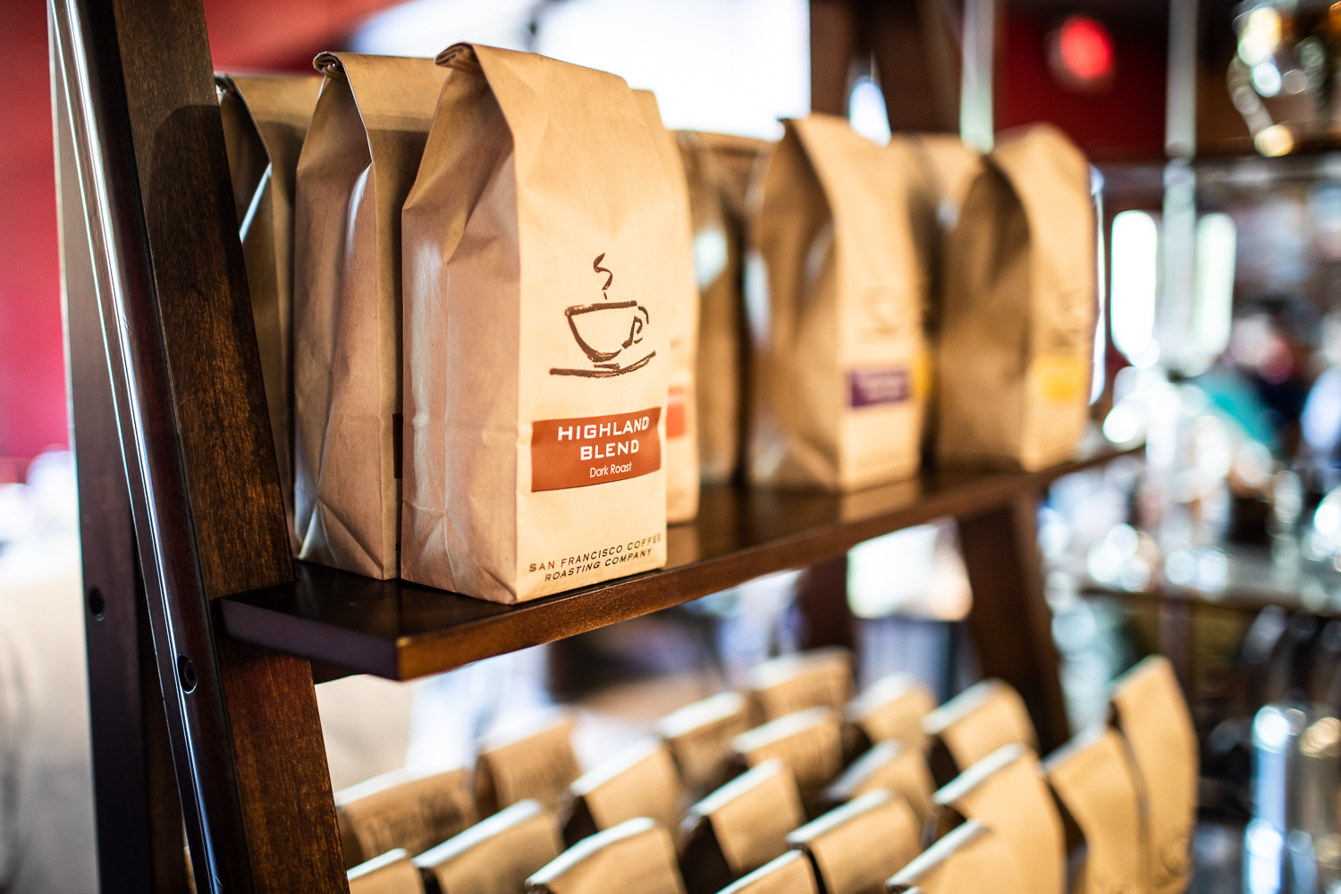 Plenty of freshly roasted coffee beans for sale at San Francisco Roasting Company.
