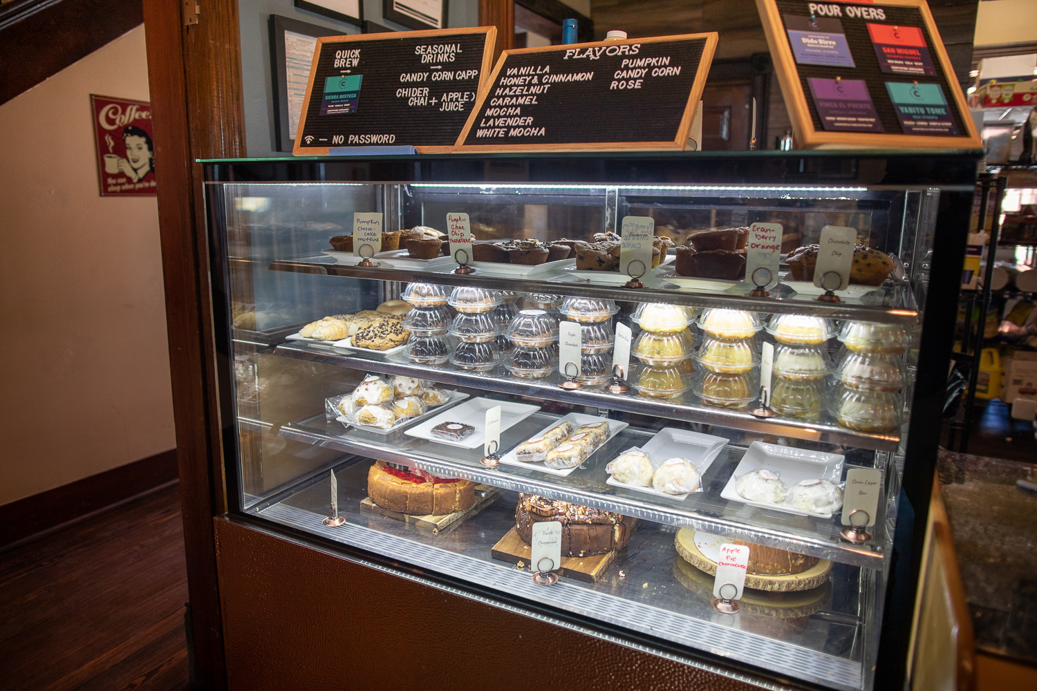 Dessert items on display at Boulder Creek coffee.