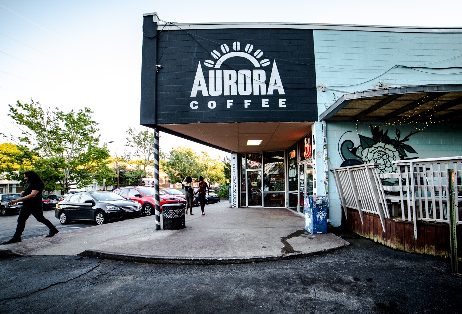 Exterior side of Aurora Coffee in the Little Five Points neighborhood of Atlanta, GA.