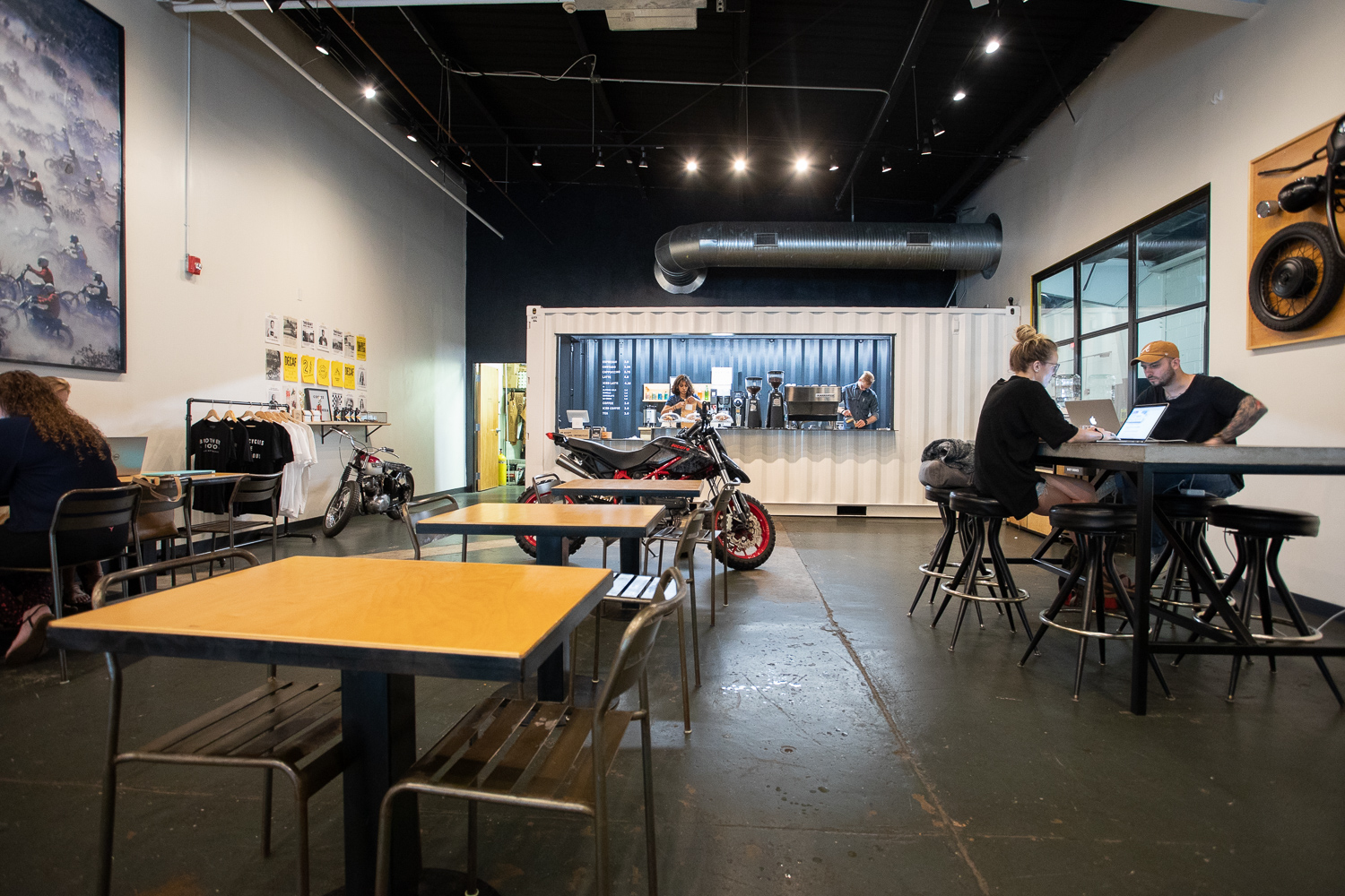 The interior of Brother Moto. There is plenty of space to get work done.