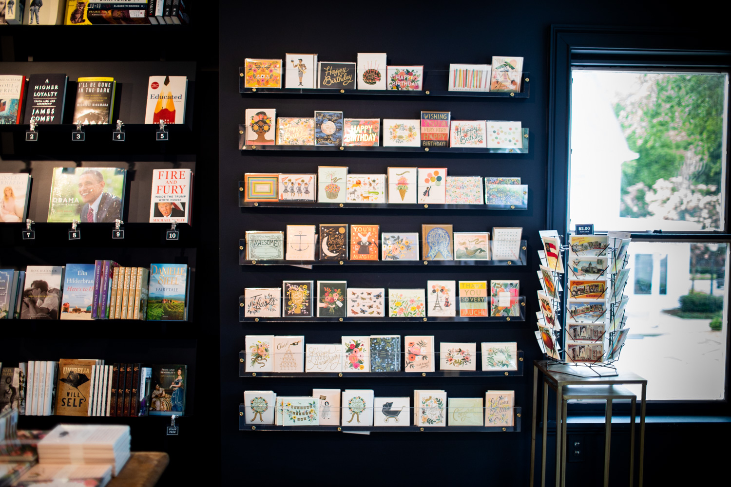 The greeting card display at Read Shop.