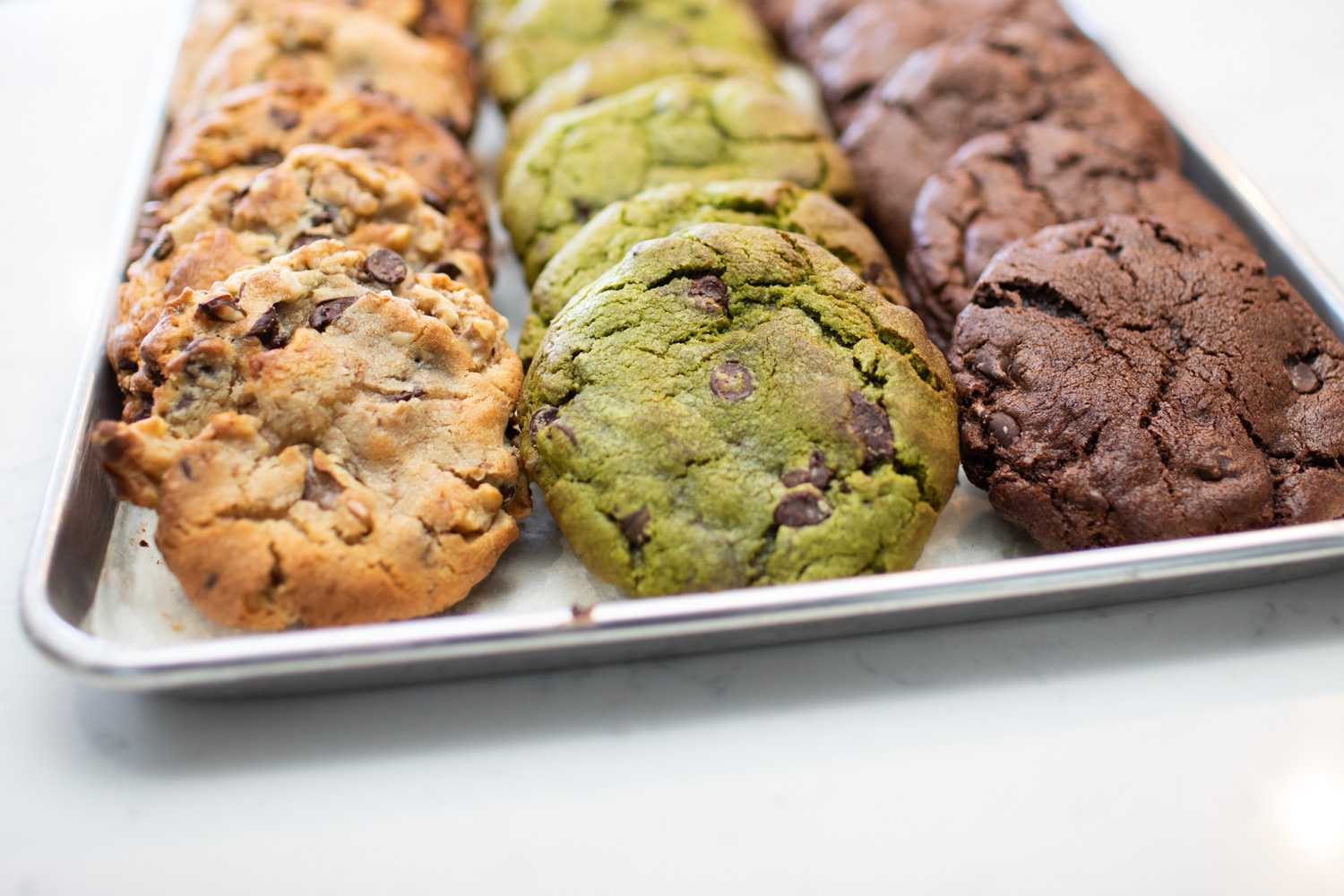 Homemade cookies at Momo Cafe. Flavors include matcha, dark chocolate, and chocolate chip walnut. Yum!