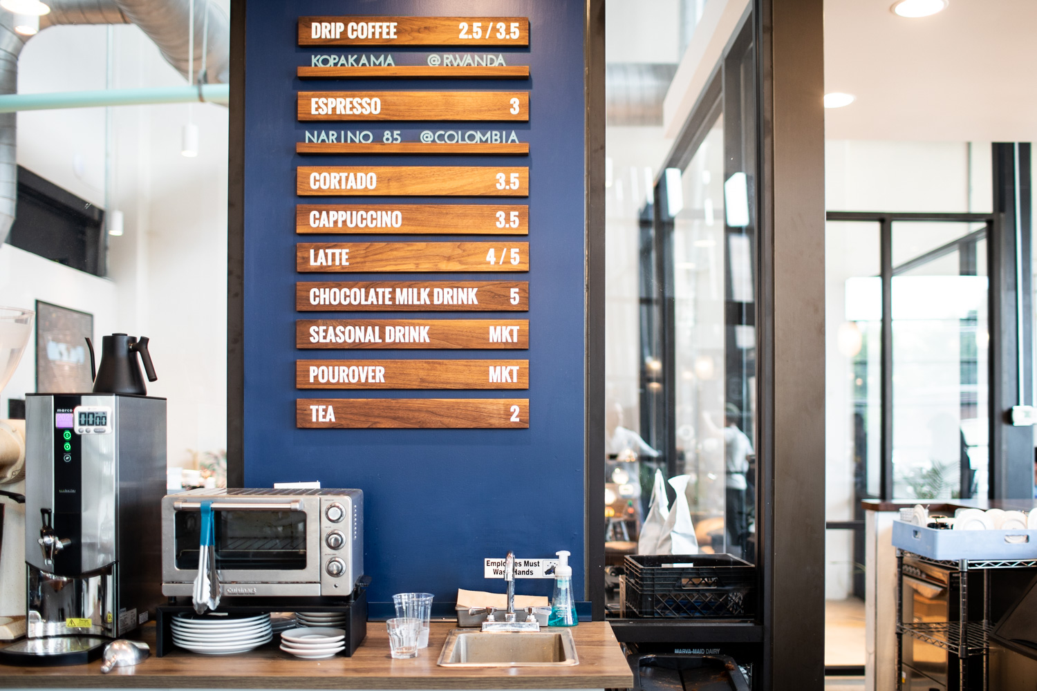 The coffee (and tea) menu at East Pole Coffee Company.
