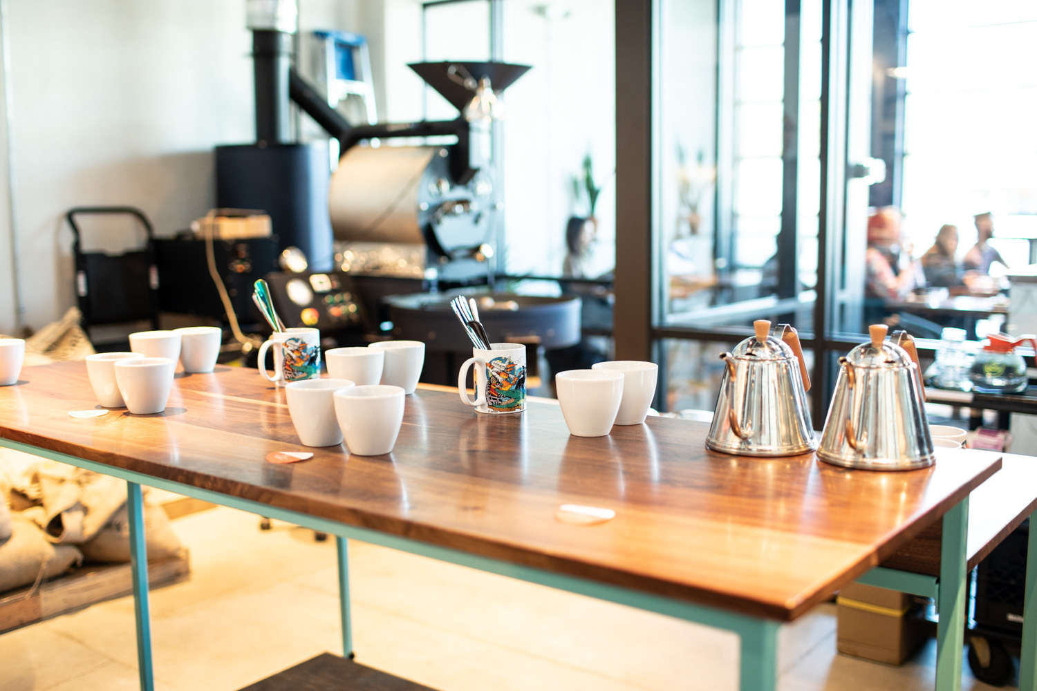 Preparing the coffee cupping event at East Pole.
