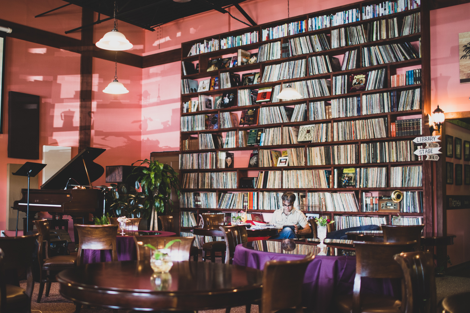 Cafe Rothem features high ceilings, plenty of seating, and a large selection of books.
