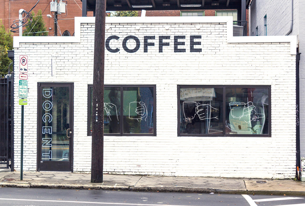 The front of Docent Coffee on Edgewood Avenue. Photo courtesy of Docent Coffee and used with permission.