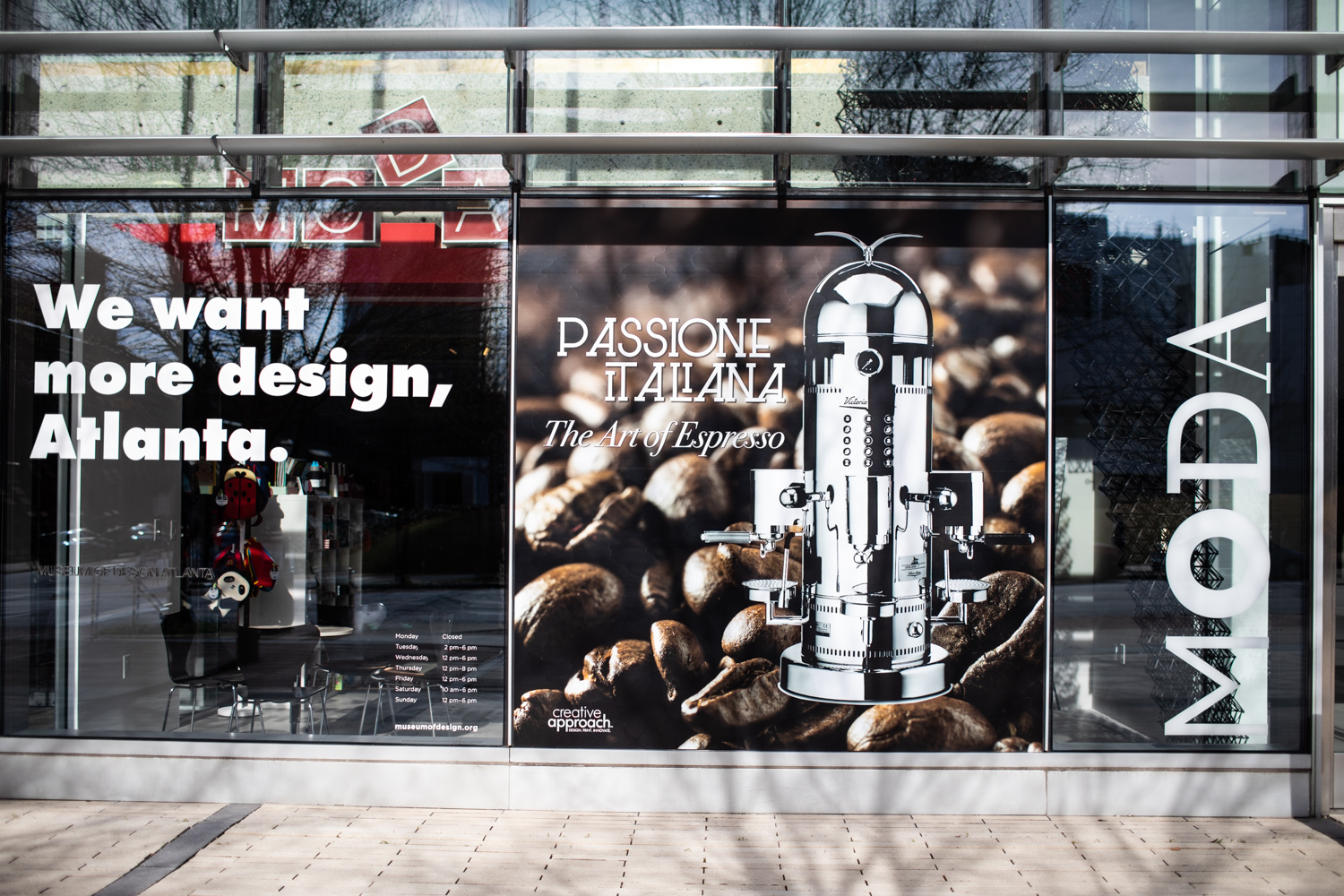 Exterior view of the  Passione Italiana  exhibit at Museum of Design Atlanta.