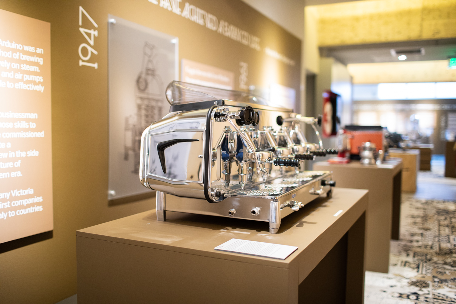 The Faema E61 on display at MODA's  Passione Italiana: The Art of Espresso  exhibition.