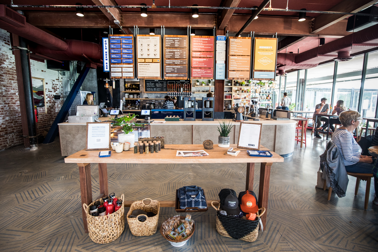 Wide angle view of the interior at Cold Brew Bar.