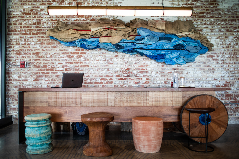 A centerpiece art installation at Cold Brew Bar.