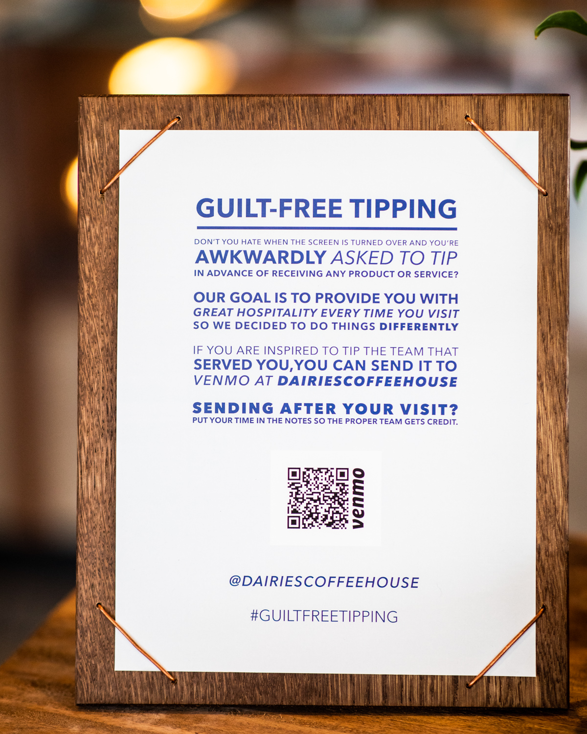 Guilt-free tipping in effect at Cold Brew Bar.