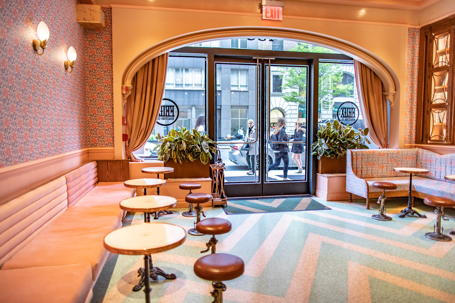 "The interior of Felix Roasting Co. This area is known as ""The Hall."" The front entrance, seen here, faces Park Avenue."