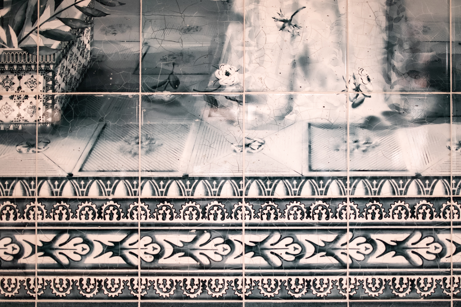 """Detail of the intricate tile that may be found on one of the walls inside """"The Sanctuary"""" at Felix Roasting Co. This detail is from the """"Authenticity"""" pillar."""
