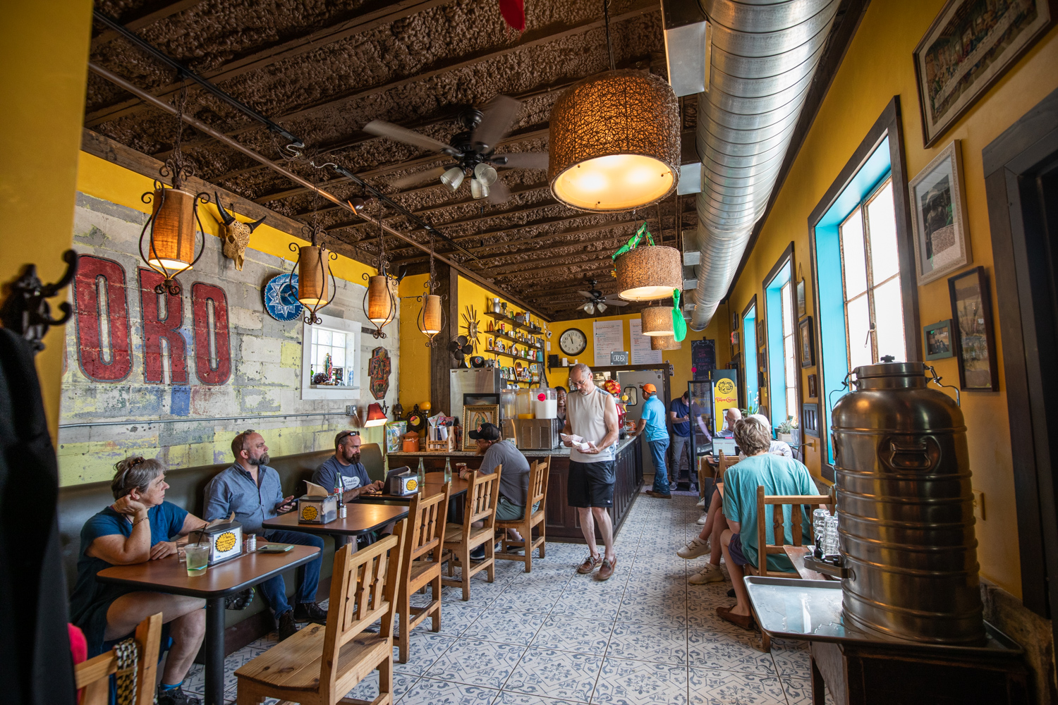Interior of El Tesoro. Fresh tacos are being served.