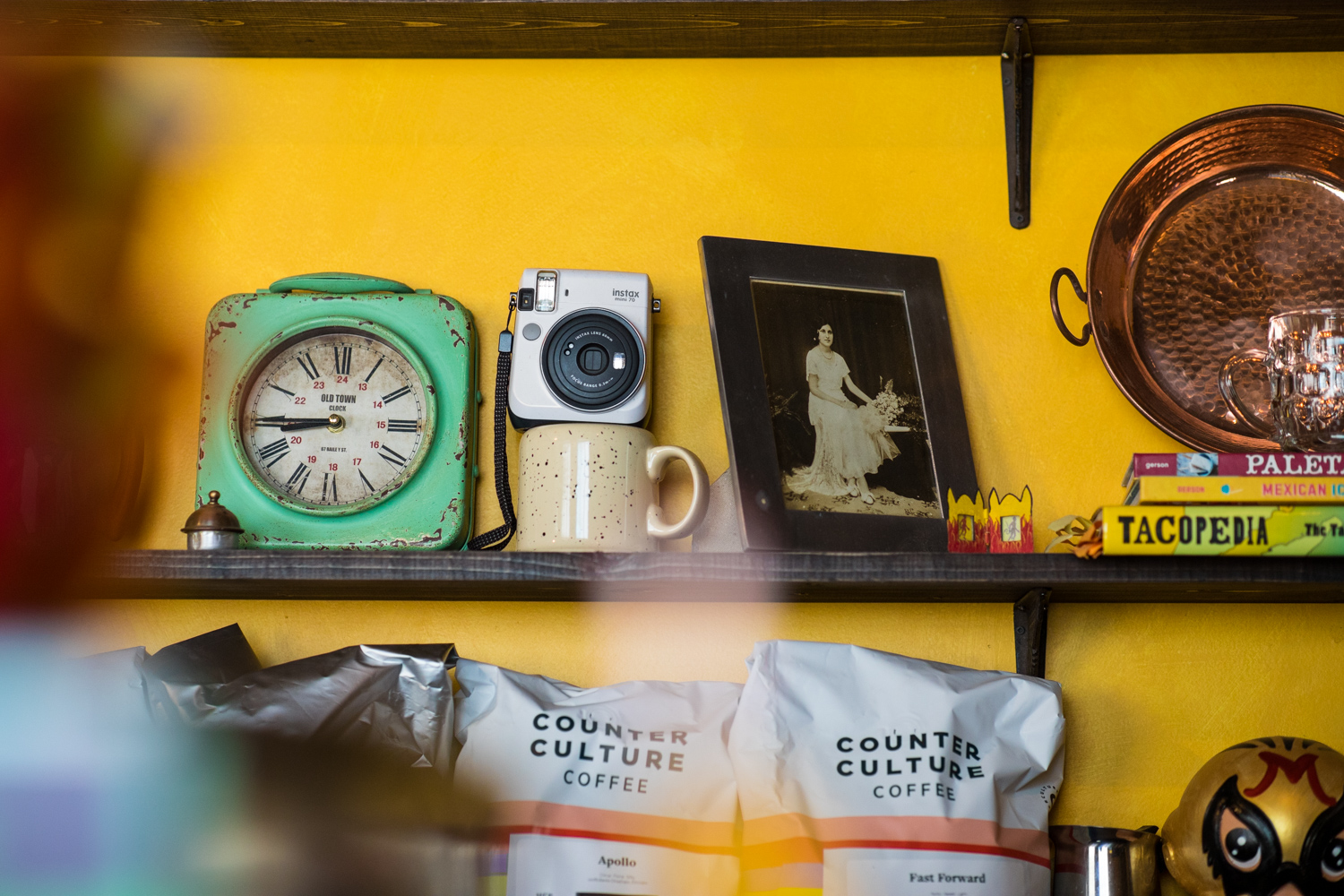 Detail from items on the shelves at El Tesoro.