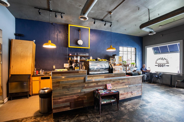 Interior of Banjo Coffee Shop.
