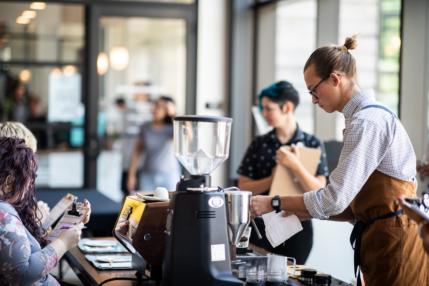 A scene from the Barista competition at the prelims at East Pole Coffee Co.