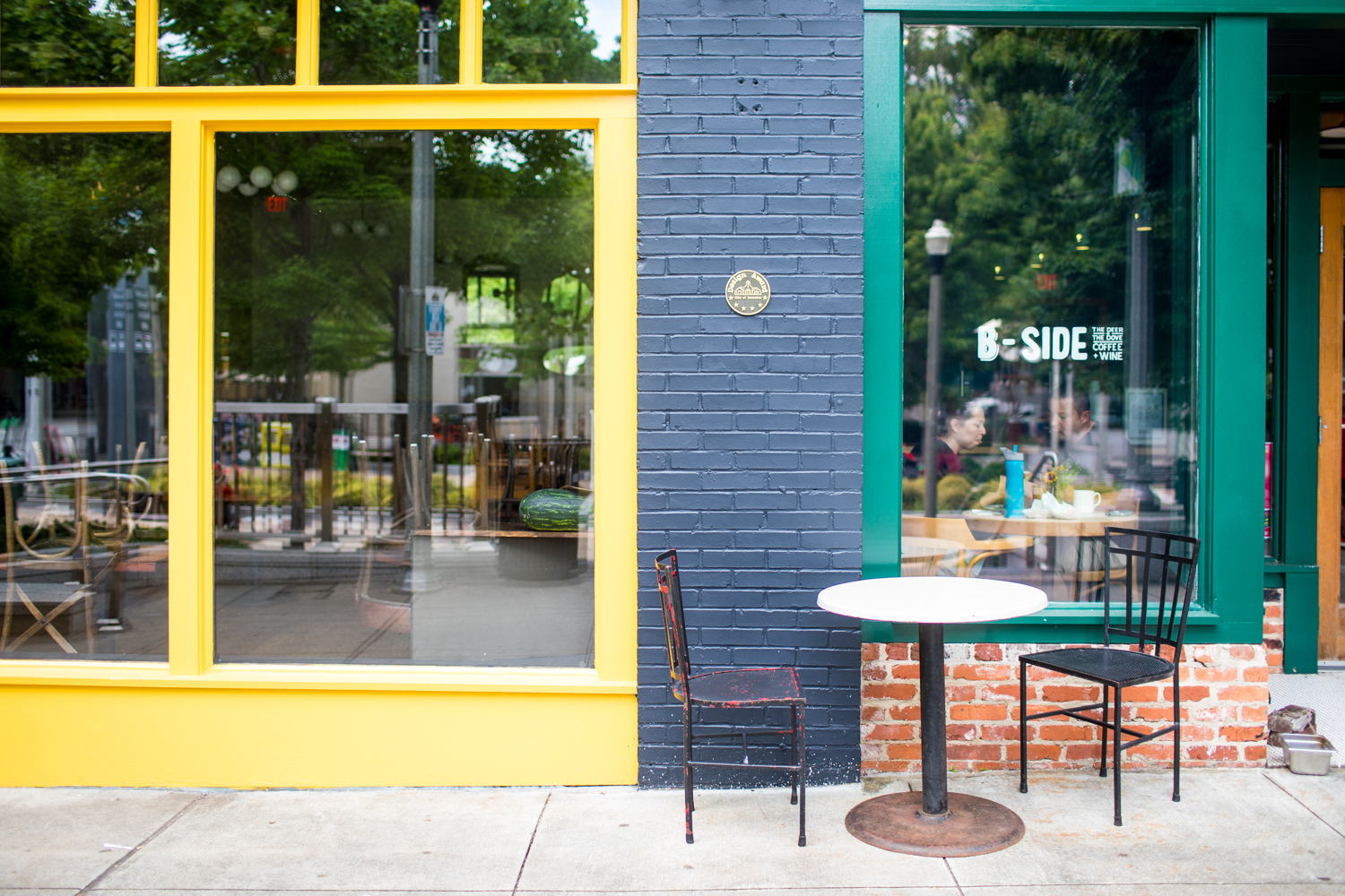 A beautiful yellow, cyan, and blue color palette at the B-Side Cafe.
